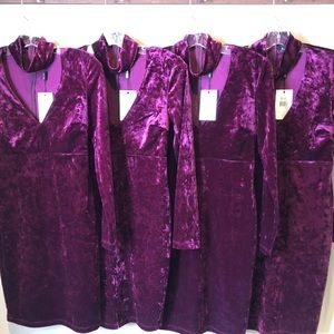 Burgundy crush velvet above the knee dress